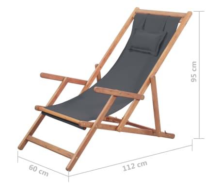 vidaXL Folding Beach Chair Fabric and Wooden Frame Gray[12/12]