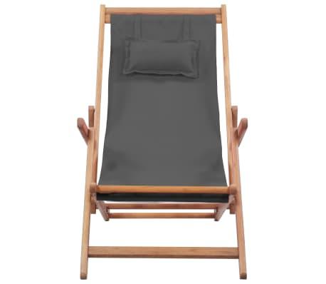 vidaXL Folding Beach Chair Fabric and Wooden Frame Gray[4/12]