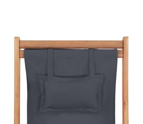 vidaXL Folding Beach Chair Fabric and Wooden Frame Gray[7/12]