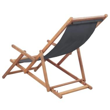 vidaXL Folding Beach Chair Fabric and Wooden Frame Gray[2/12]
