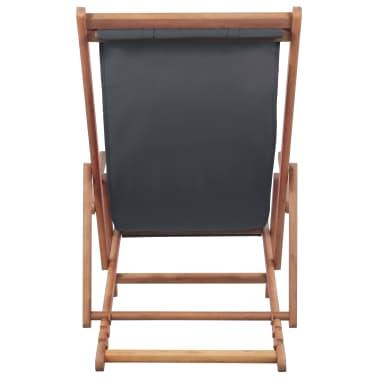 vidaXL Folding Beach Chair Fabric and Wooden Frame Gray[3/12]