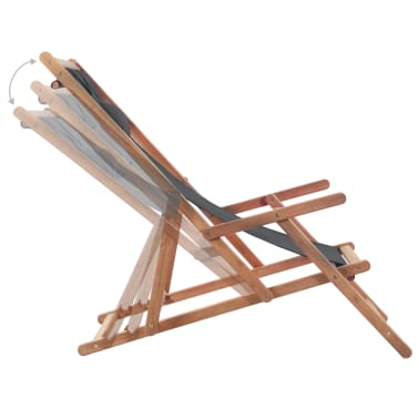 vidaXL Folding Beach Chair Fabric and Wooden Frame Gray[5/12]