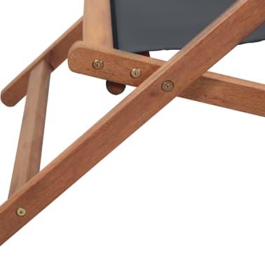 vidaXL Folding Beach Chair Fabric and Wooden Frame Gray[8/12]