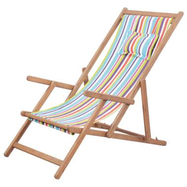 vidaXL saliekams pludmales krēsls, krāsains audums, koka rāmis[1/13]
