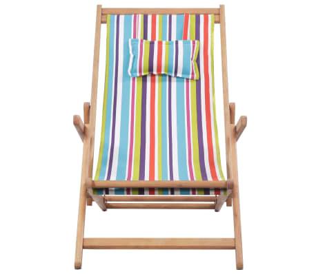 vidaXL saliekams pludmales krēsls, krāsains audums, koka rāmis[2/13]