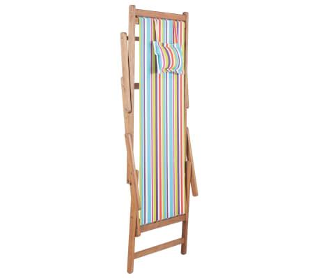 vidaXL saliekams pludmales krēsls, krāsains audums, koka rāmis[4/13]
