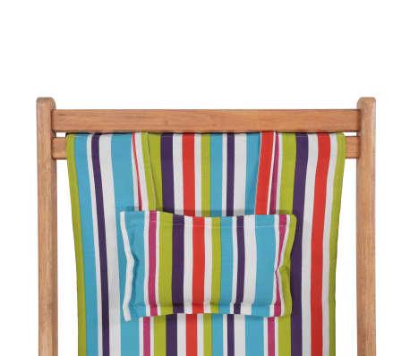 vidaXL saliekams pludmales krēsls, krāsains audums, koka rāmis[7/13]