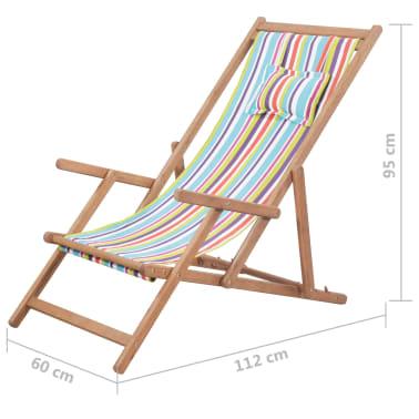vidaXL saliekams pludmales krēsls, krāsains audums, koka rāmis[13/13]