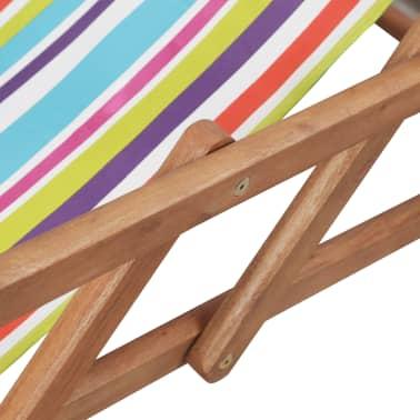 vidaXL saliekams pludmales krēsls, krāsains audums, koka rāmis[8/13]