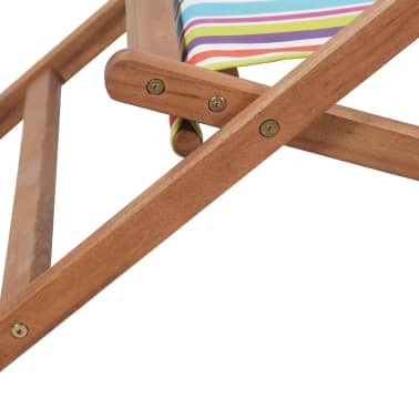 vidaXL saliekams pludmales krēsls, krāsains audums, koka rāmis[9/13]