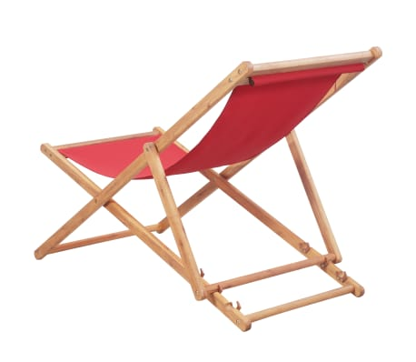 vidaXL Folding Beach Chair Fabric and Wooden Frame Red[3/12]