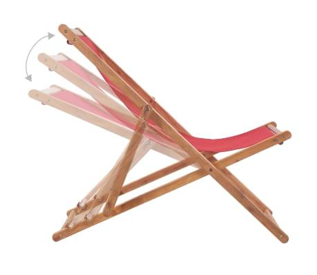 vidaXL Folding Beach Chair Fabric and Wooden Frame Red[6/12]