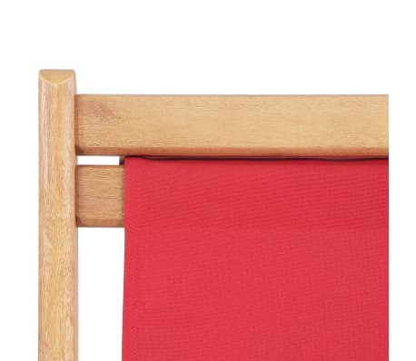 vidaXL Folding Beach Chair Fabric and Wooden Frame Red[7/12]