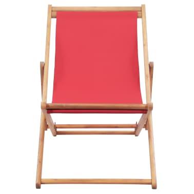 vidaXL Folding Beach Chair Fabric and Wooden Frame Red[2/12]