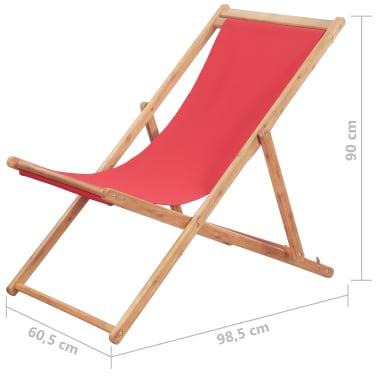 vidaXL Folding Beach Chair Fabric and Wooden Frame Red[12/12]