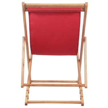 vidaXL Folding Beach Chair Fabric and Wooden Frame Red[4/12]