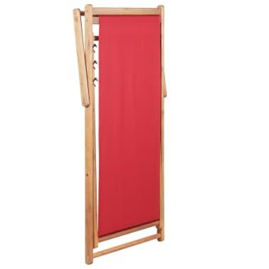 vidaXL Folding Beach Chair Fabric and Wooden Frame Red[5/12]