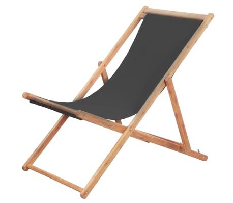 vidaXL Folding Beach Chair Fabric and Wooden Frame Grey