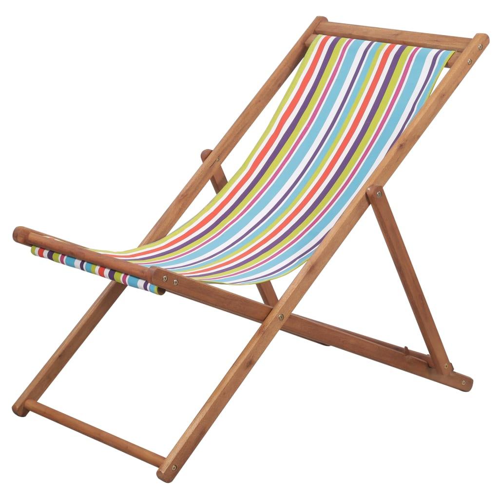 vidaXL Skládací plážové křeslo látka a dřevěný rám vícebarevné