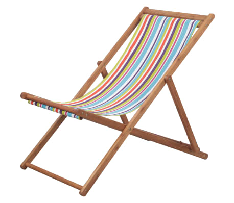 vidaXL Folding Beach Chair Fabric and Wooden Frame Multicolor
