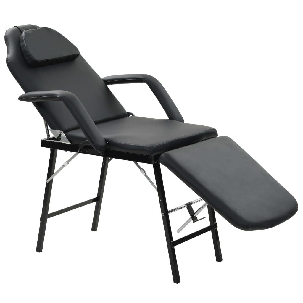 Afbeelding van vidaXL Gezichtsbehandelingsstoel draagbaar 185x78x76 cm kunstleer zwart