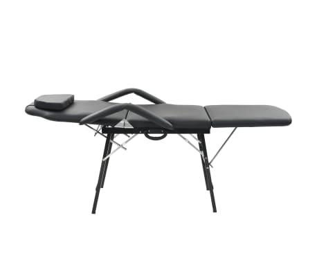 vidaXL Bärbar behandlingsstol konstläder 185x78x76 cm svart[2/9]