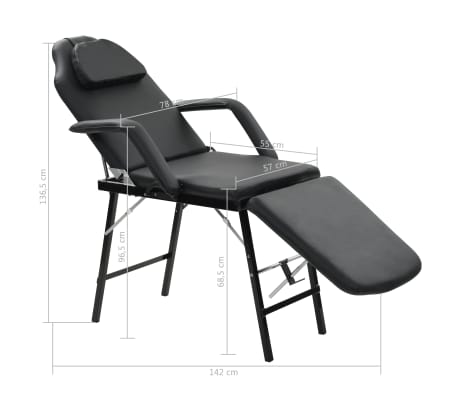 vidaXL Bärbar behandlingsstol konstläder 185x78x76 cm svart[9/9]