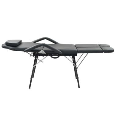 vidaXL Kilnojama kosmetologinė kėdė, dirbtinė oda, 185x78x76cm, juoda[2/9]