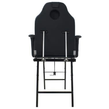 vidaXL Kilnojama kosmetologinė kėdė, dirbtinė oda, 185x78x76cm, juoda[4/9]