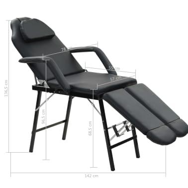 vidaXL Kilnojama kosmetologinė kėdė, dirbtinė oda, 185x78x76cm, juoda[9/9]