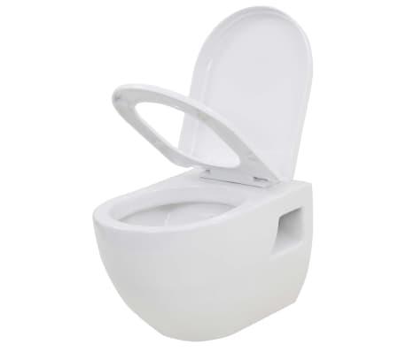 vidaXL Inodoro de montaje en pared de cerámica blanco[3/9]
