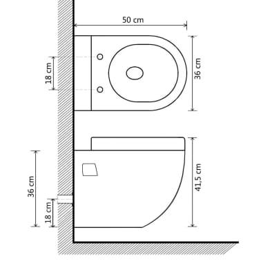 vidaXL Inodoro de montaje en pared de cerámica blanco[9/9]
