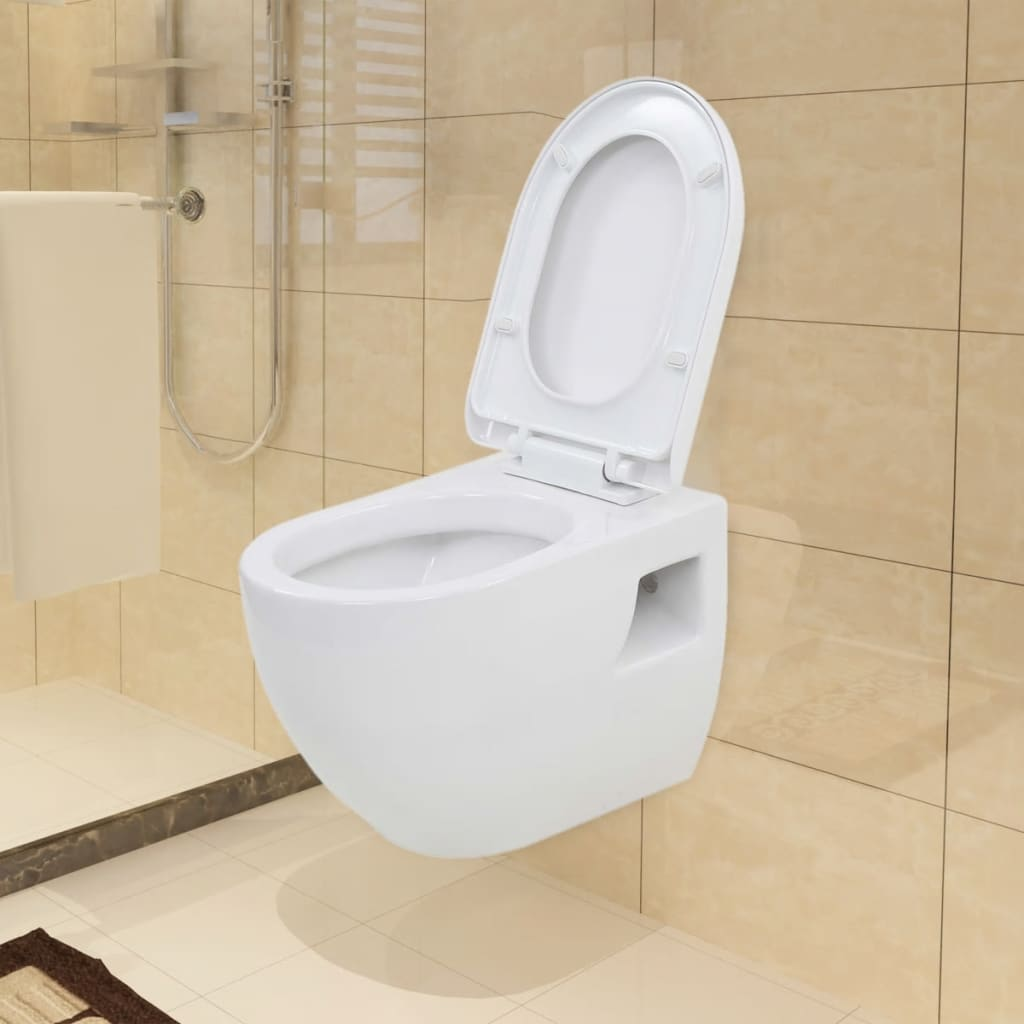 vidaXL WallHung Toilet Ceramic White