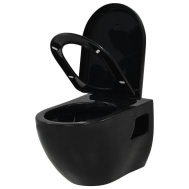 vidaXL Toaleta wisząca, ceramiczna, czarna[3/9]