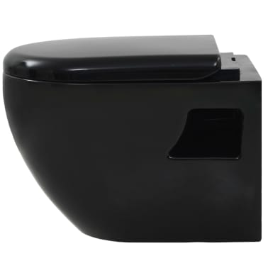 vidaXL Toaleta wisząca, ceramiczna, czarna[7/9]