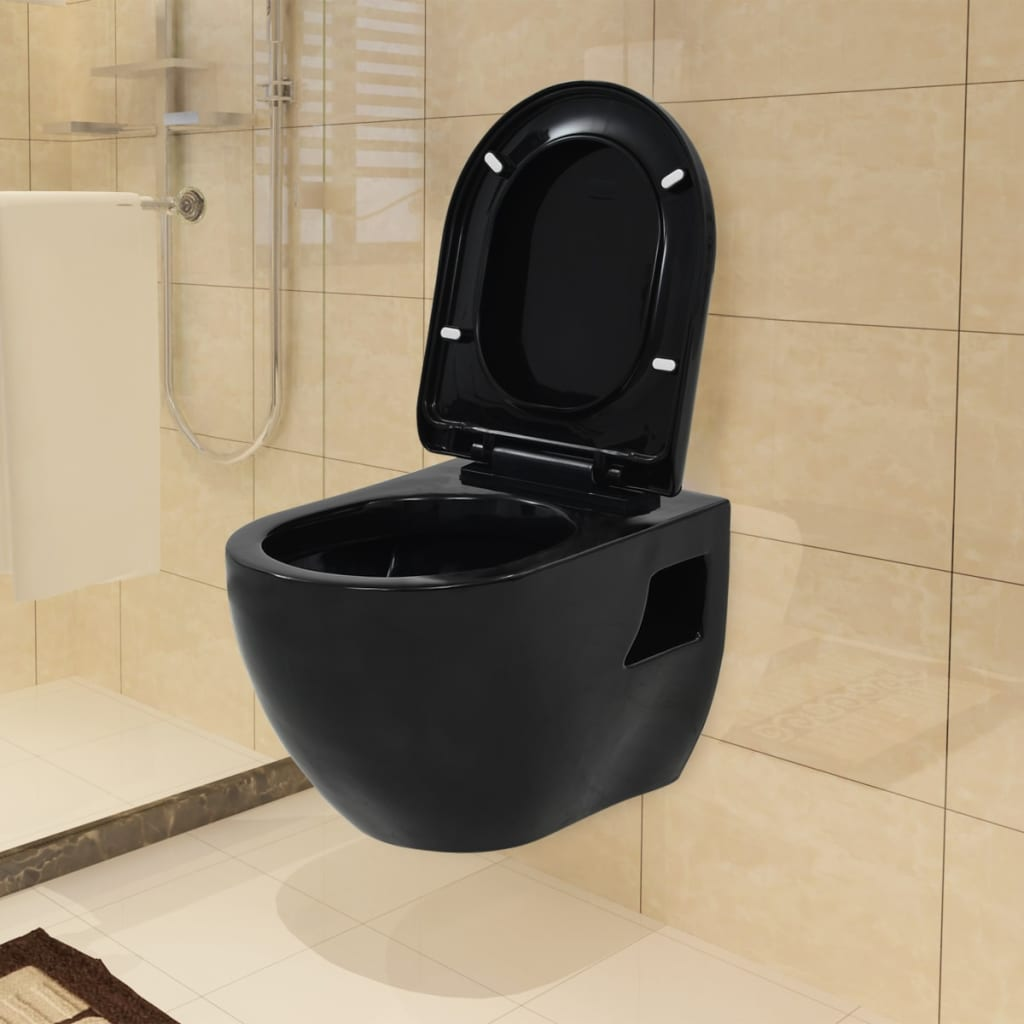 vidaXL WallHung Toilet Ceramic Black