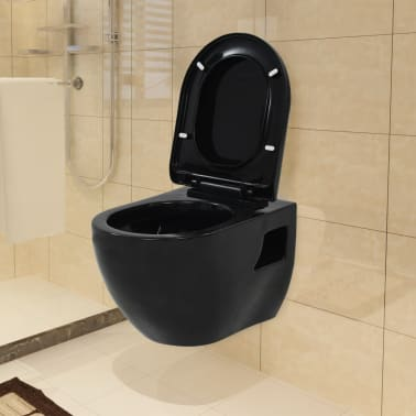 vidaXL Toaleta wisząca, ceramiczna, czarna[1/9]