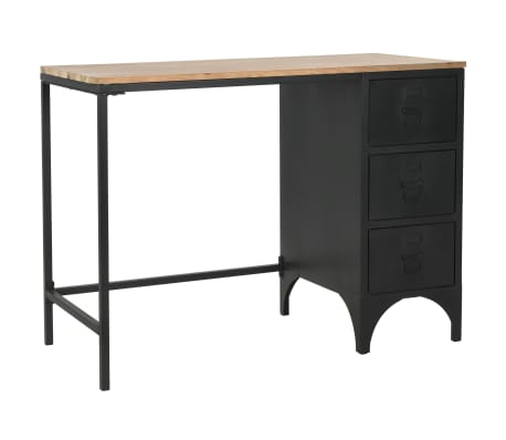 vidaXL Single Pedestal Desk Solid Firwood and Steel 100x50x76 cm[1/12]