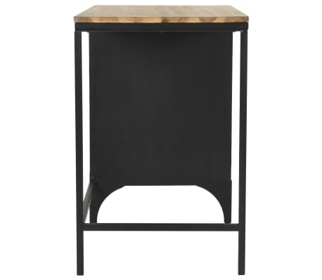 vidaXL Single Pedestal Desk Solid Firwood and Steel 100x50x76 cm[5/12]