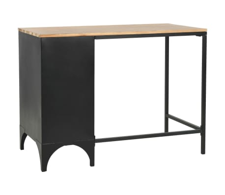 vidaXL Single Pedestal Desk Solid Firwood and Steel 100x50x76 cm[6/12]