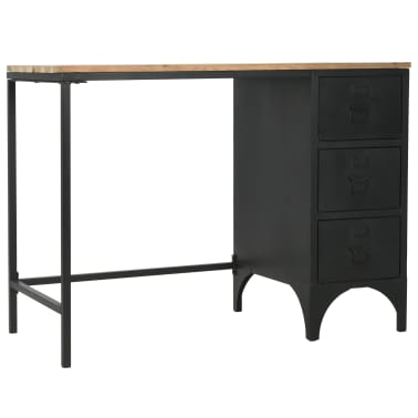 vidaXL Single Pedestal Desk Solid Firwood and Steel 100x50x76 cm[4/12]