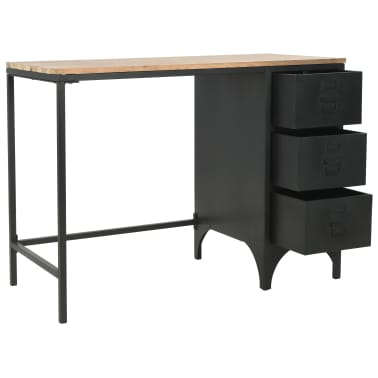 vidaXL Single Pedestal Desk Solid Firwood and Steel 100x50x76 cm[7/12]