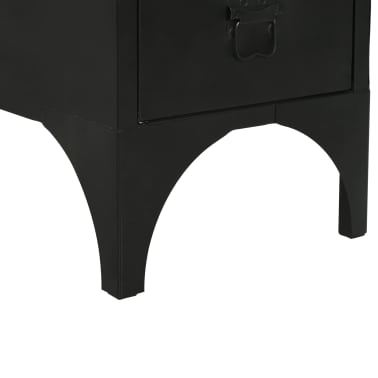 vidaXL Single Pedestal Desk Solid Firwood and Steel 100x50x76 cm[10/12]