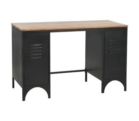 "vidaXL Double Pedestal Desk Solid Firwood and Steel 47.2""x19.6""x29.9"""