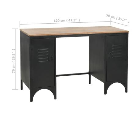"vidaXL Double Pedestal Desk Solid Firwood and Steel 47.2""x19.6""x29.9""[13/13]"