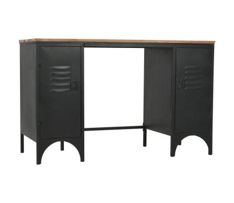 vidaXL Dvojna pisalna miza trden les jelke in jeklo 120x50x76 cm[4/13]