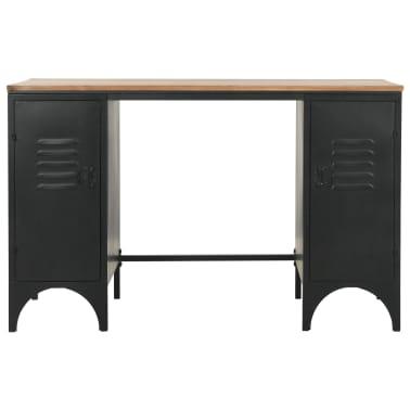 "vidaXL Double Pedestal Desk Solid Firwood and Steel 47.2""x19.6""x29.9""[2/13]"