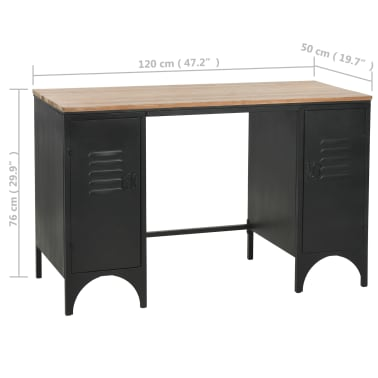 vidaXL Dvojna pisalna miza trden les jelke in jeklo 120x50x76 cm[13/13]