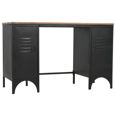 "vidaXL Double Pedestal Desk Solid Firwood and Steel 47.2""x19.6""x29.9""[4/13]"