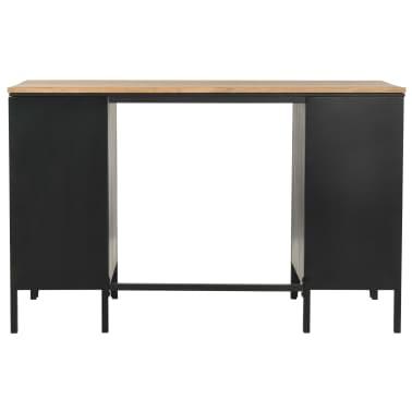 "vidaXL Double Pedestal Desk Solid Firwood and Steel 47.2""x19.6""x29.9""[5/13]"